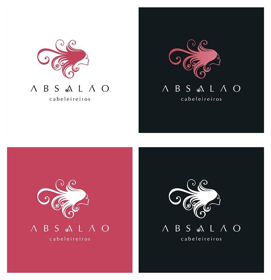 logotipo para cabeleireiro em quatro versões da marca, Absalão de João Pessoa, PA