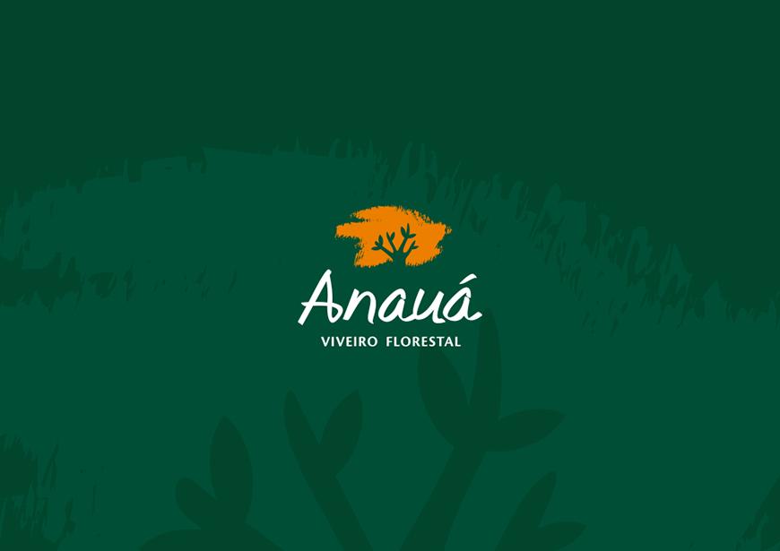logotipo na versão negativa fundo escuro para o viveiro florestal anauá