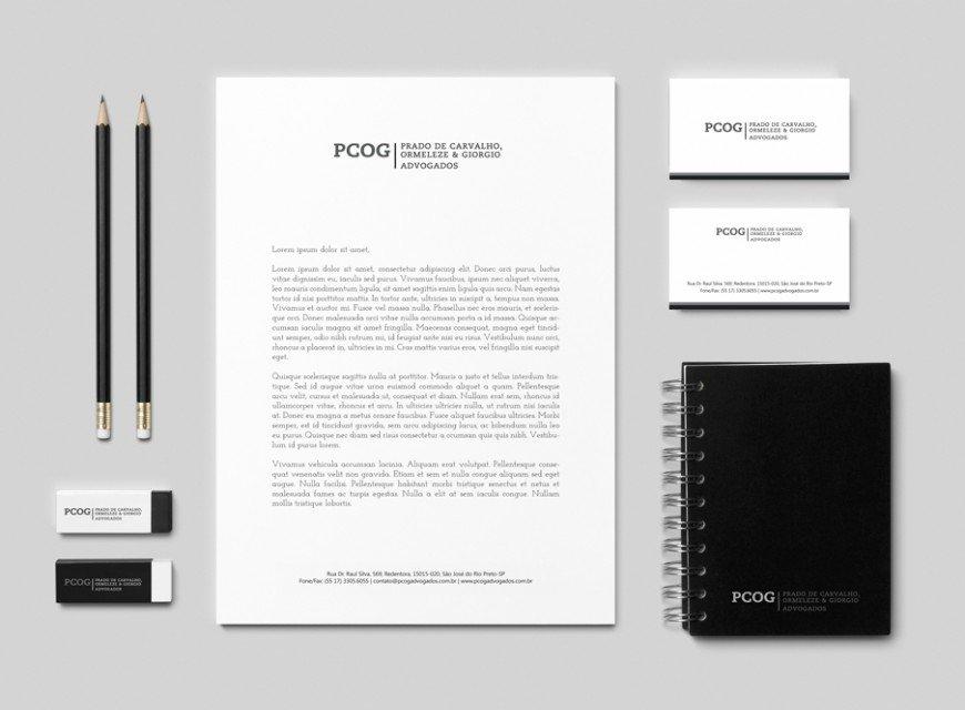 Criação para identidade visual de advogados e criação da papelaria corporativa PCOG advogados