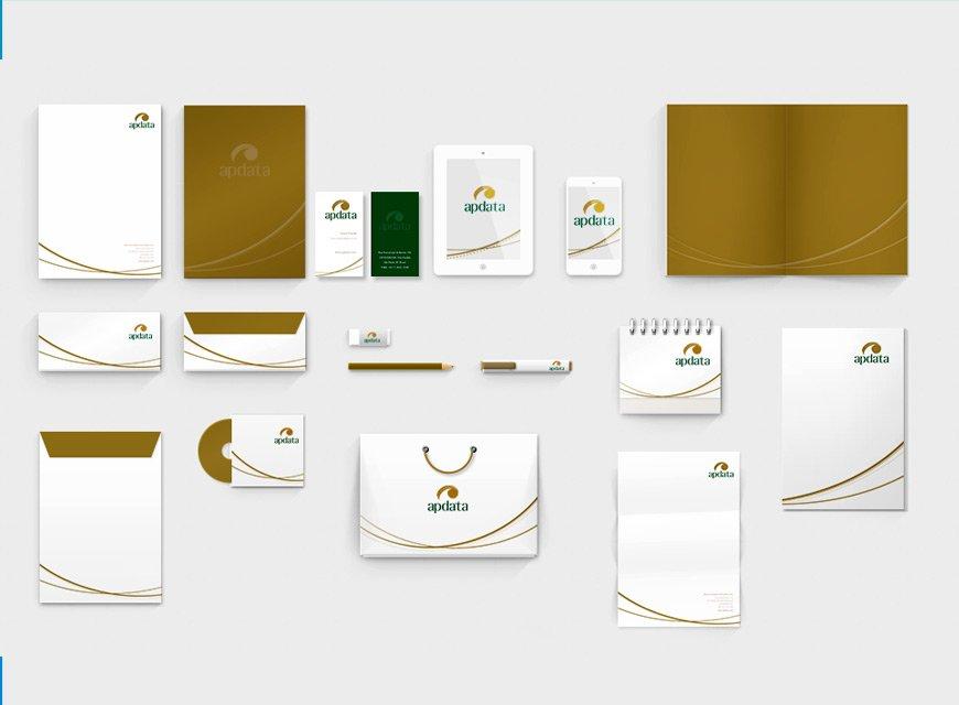 Criação de Identidade Visual para Empresa de Recursos Humanos e gestão de Negócios, criação da papelaria e logotipo, Apdata do Brasil software