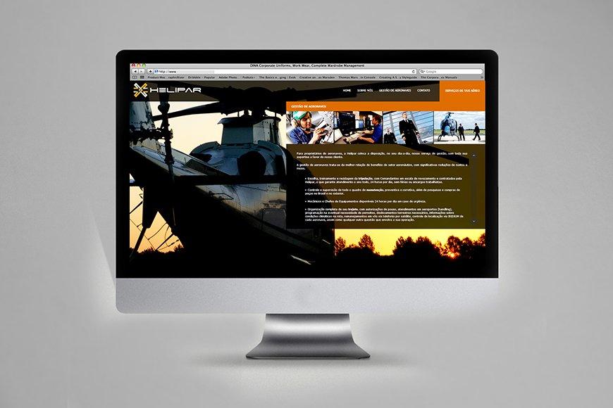criação de web site institucional helipar gestão de aeronaves e helicópteros