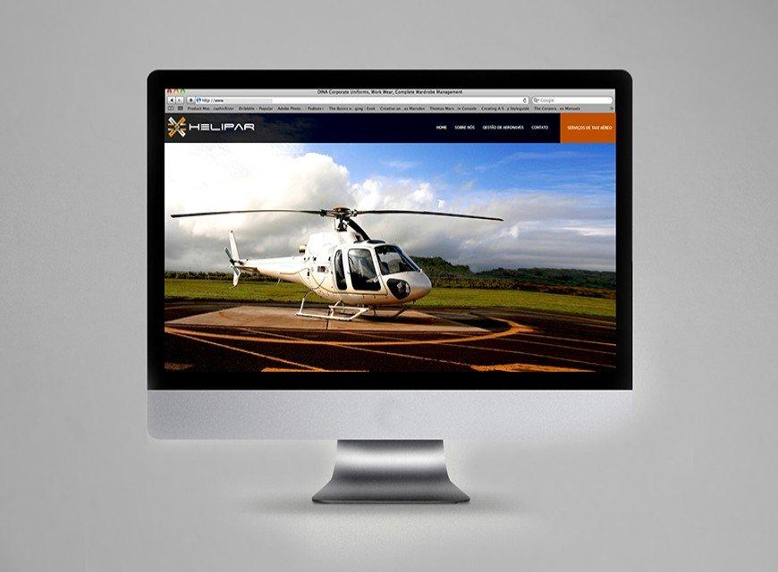 layout criação do web site institucional, helipar gestão de aeronaves