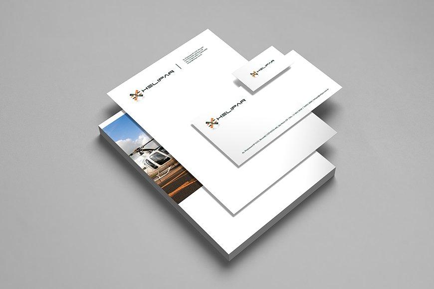 criação de papelaria e identidade visual helipar, empresa de aeronaves e helicópteros