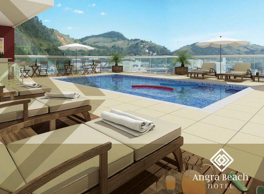 Criação de identidade visual para hotel, imagem conceitual com aplicação do logotipo Angra Beach Hotel no RJ