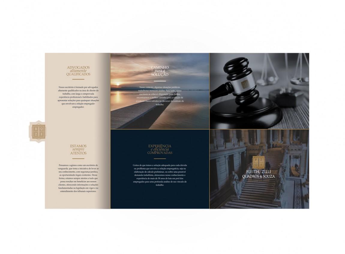 Detalhe da página interna do folder corporativo para o escritório FZQS Advogados, desenvolvemos um design clássico e imponente.