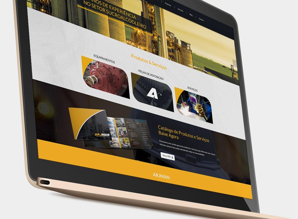 Detalhe da página principal do site - Arjman Indústria - Criação para Web Site Responsivo