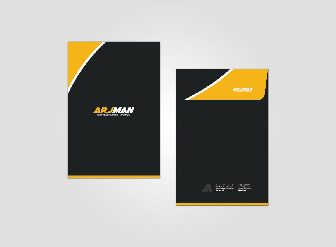 Imagem frente e verso do design do envelope, modelo grande, para Arjman Industria, design simples e moderno com preto e laranja.